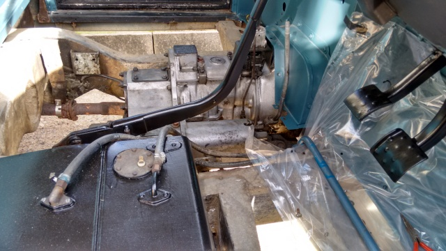 Grease removed from gearbox and transfer case, painting the pedals