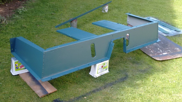 """Marine Blue, satin finish applied with a 2"""" roller"""
